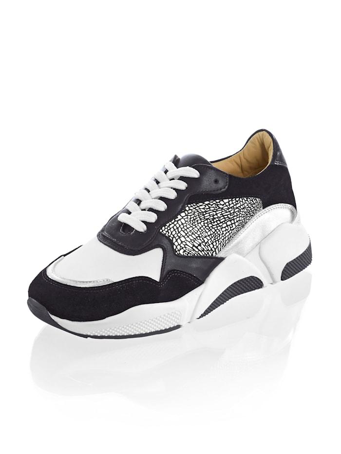 Alba Moda Sneaker in sportiver Chunky-Form, Schwarz/Weiß/Silberfarben