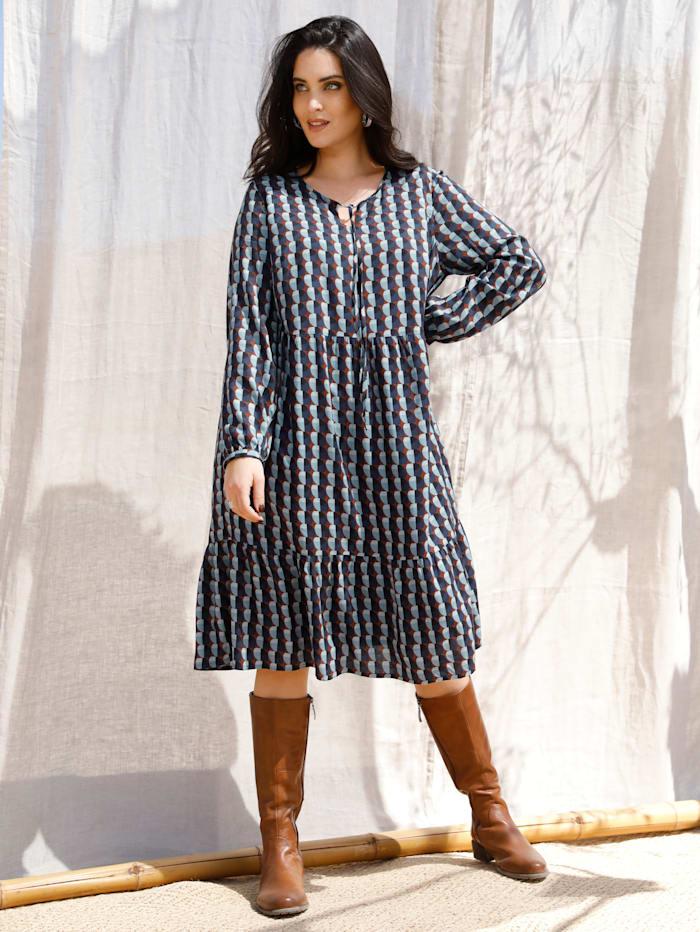 MIAMODA Kleid in Stufenform, Marineblau/Braun