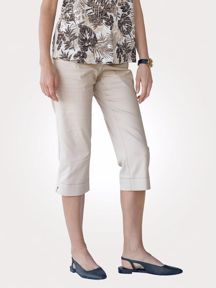 MONA Capribroek met stijlvolle contrastnaden, Zand