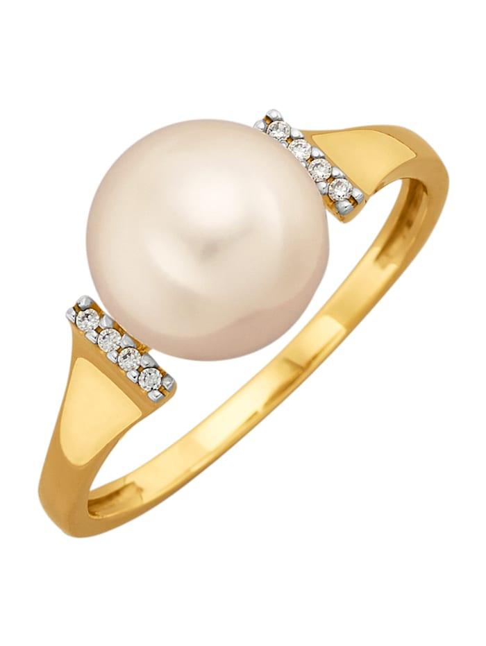 Diemer Perle Damenring mit Süßwassser-Zuchtperl-Bouton, Weiß