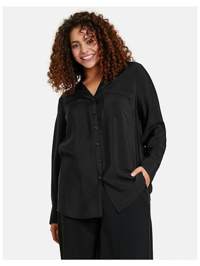 Samoon Bluse mit Brusttaschen, Black