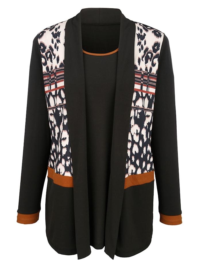 m. collection 2-in-1-shirt met print voor, Zwart/Bruin