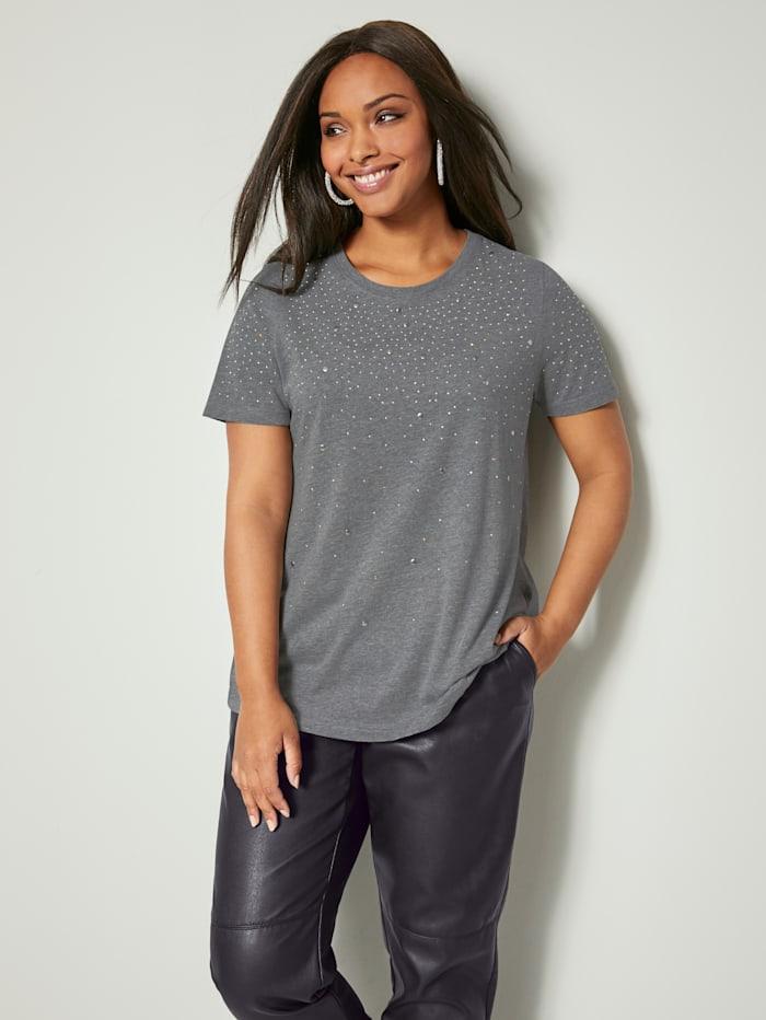 Angel of Style Shirt mit glänzenden Plättchen, Hellgrau