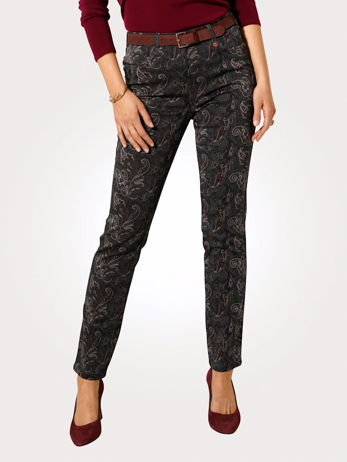 Relaxed by Toni Printed trousers, Grey/Berry
