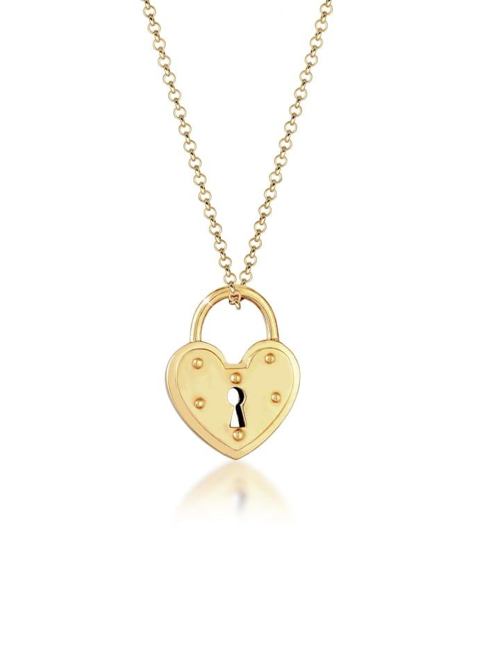 Elli Halskette Schloss Herz Anhänger Endlose Liebe 925 Silber, Gold