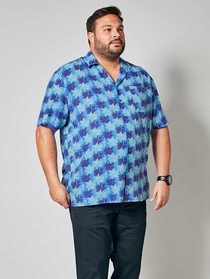 Men Plus Hemd mit Allover- Print, Blau/Marineblau/Weiß