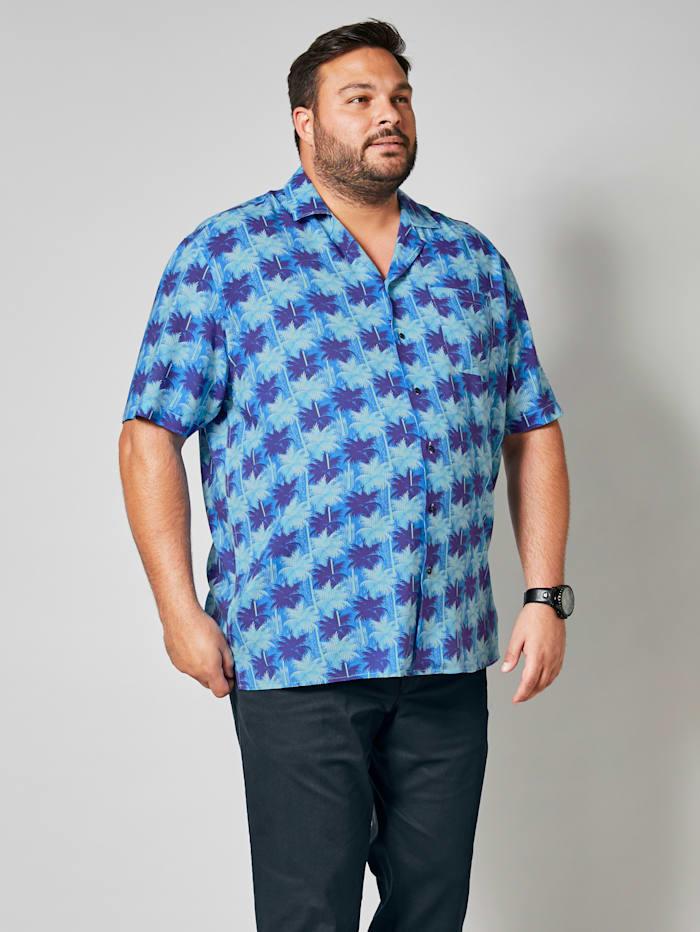 Men Plus Overhemd met print rondom, Blauw/Marine/Wit