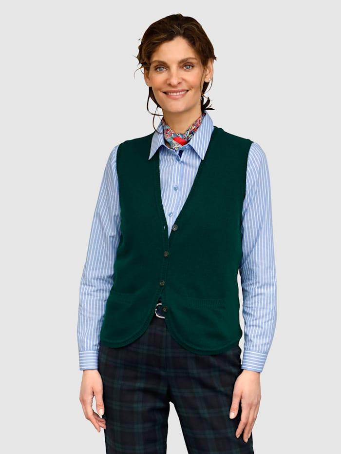 MONA Stickad väst med ren ny ull, Grön