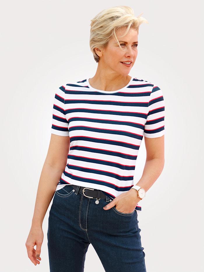 MONA Shirt mit Ringel, Weiß/Rot/Marineblau