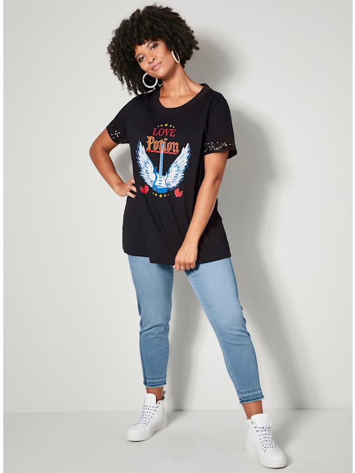 Jeans met donkere strepen opzij