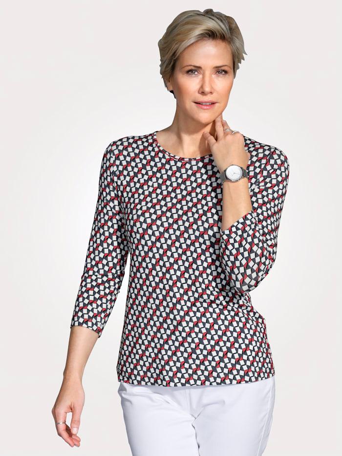 Rabe Shirt mit grafischem Druck, Rot/Grau/Weiß