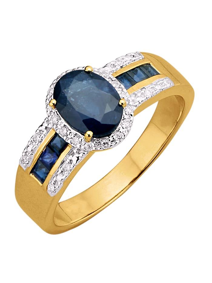 Amara Farbstein Damenring mit Saphiren und Brillanten, Blau