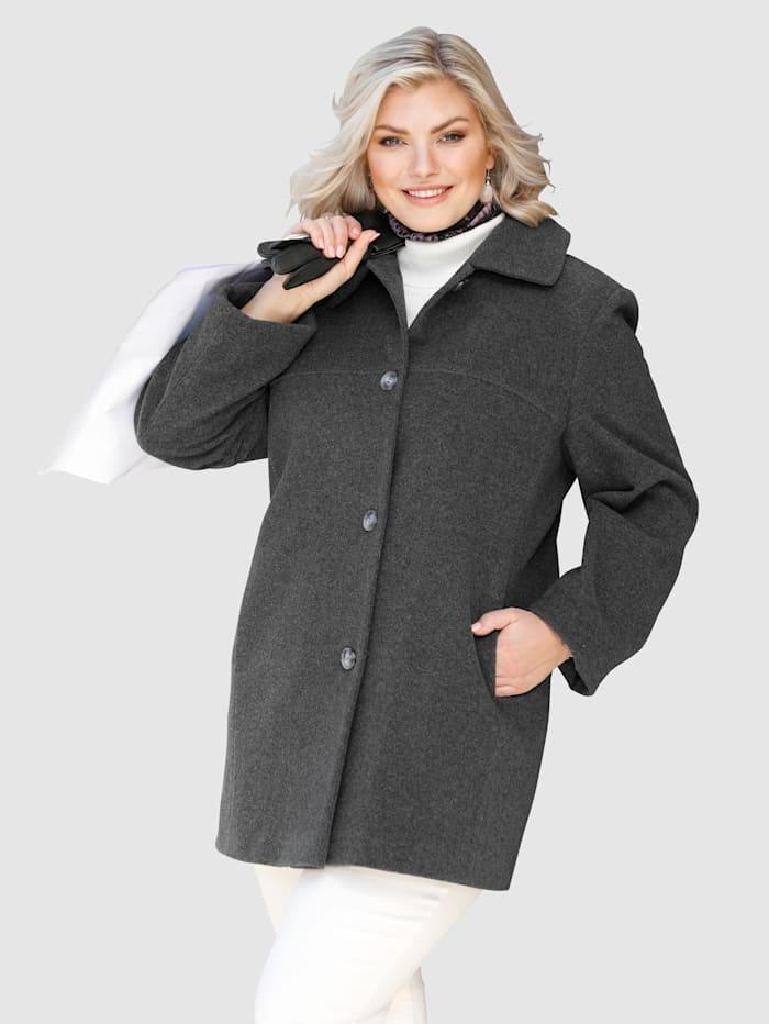 m. collection Jacke im angesagten Material-Mix mit Wolle, Grau