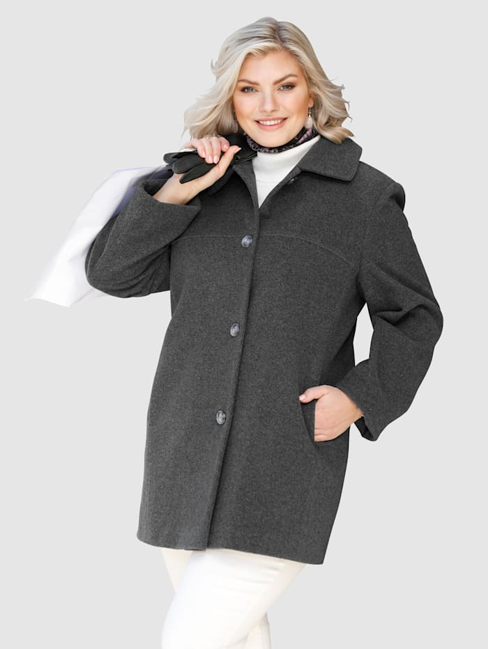 Kabát v obľúbenom mixe materiálov s vlnou