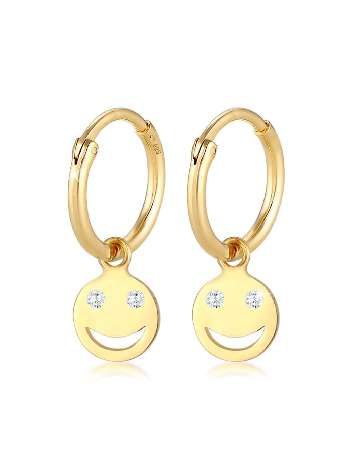 Elli Ohrringe Creolen Smiley Emoji Plättchen Trend 925 Silber, Gold