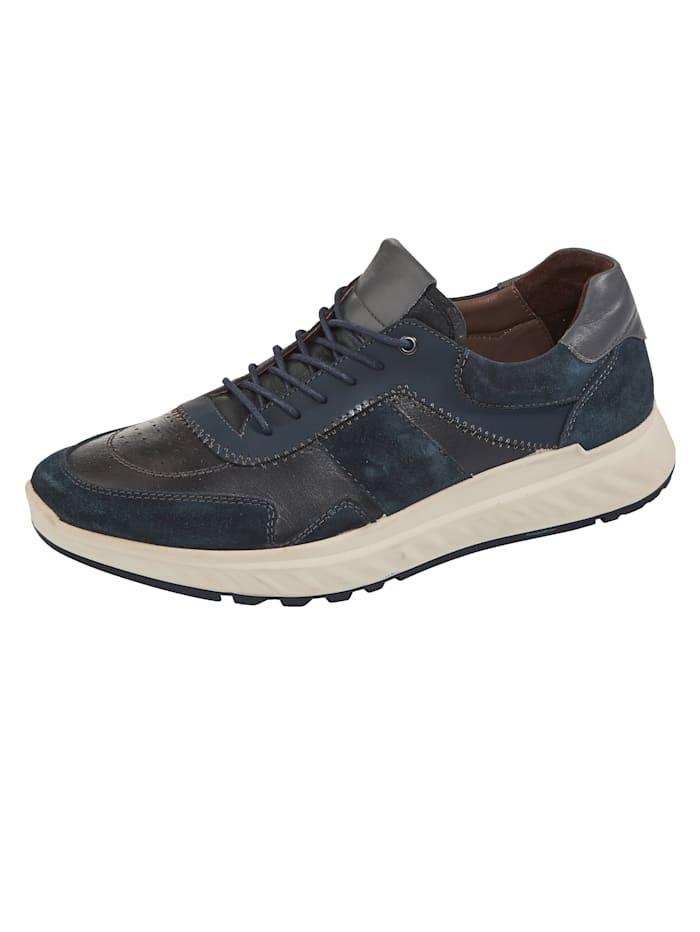 Naturläufer Schnürschuh mit dämpfender Laufsohle, Marineblau/Grau