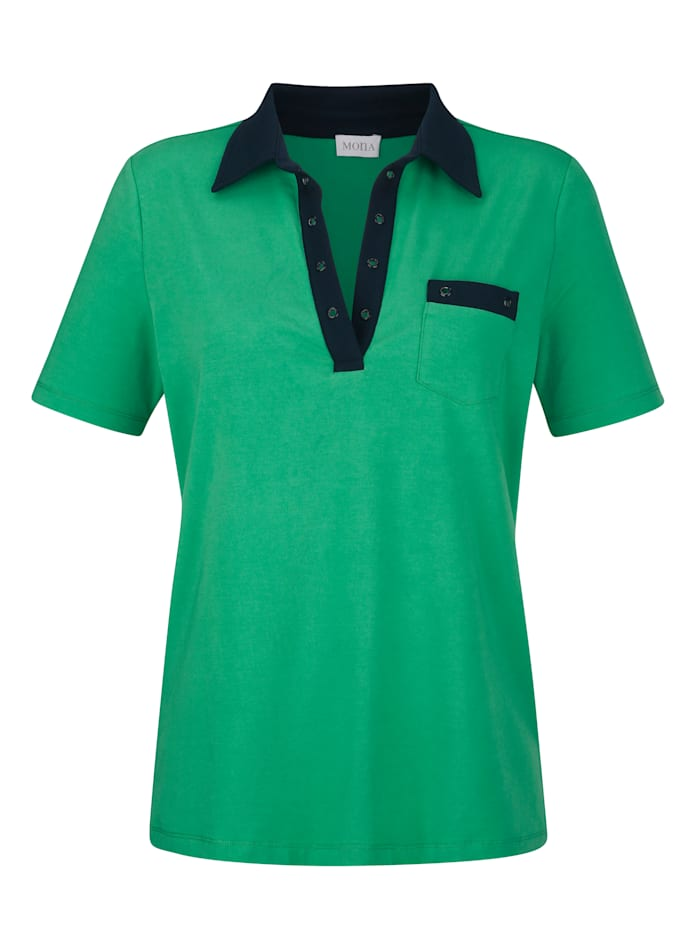 Poloshirt mit Kontrast-Details und Ösen
