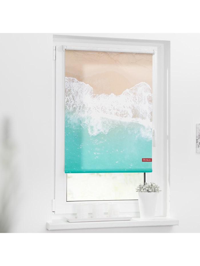 Lichtblick Sonnenschutzsysteme Rollo Klemmfix, ohne Bohren, blickdicht, The Beach - Türkis Beige, Türkis Beige