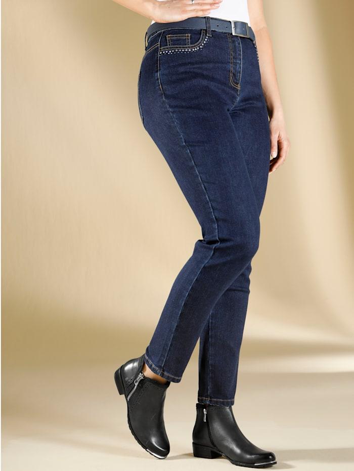 m. collection Jeans van winters warm denim, Blue stone