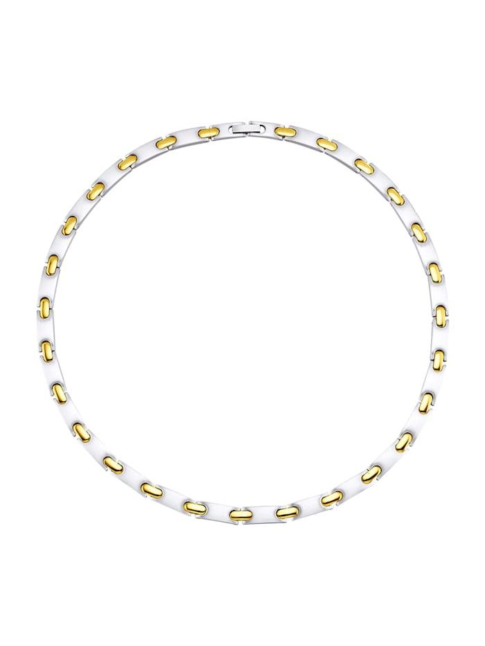 Magnetic Balance Halskette, Edelstahl mit Edelstahl, teilweise vergoldet, Silberfarben
