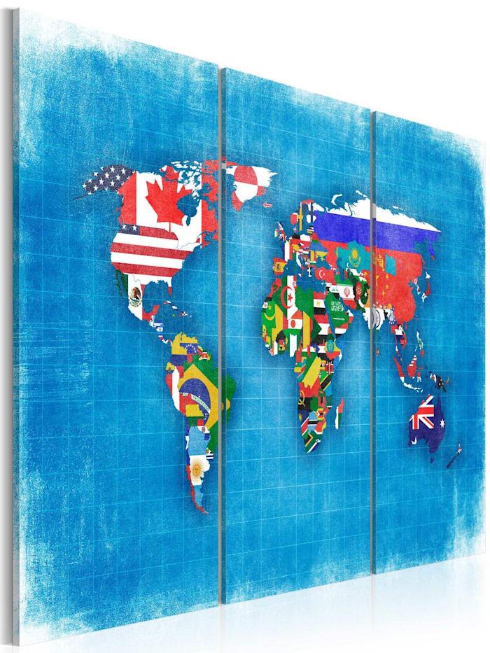 artgeist Wandbild Fahnen der Welt - Triptychon, Blau