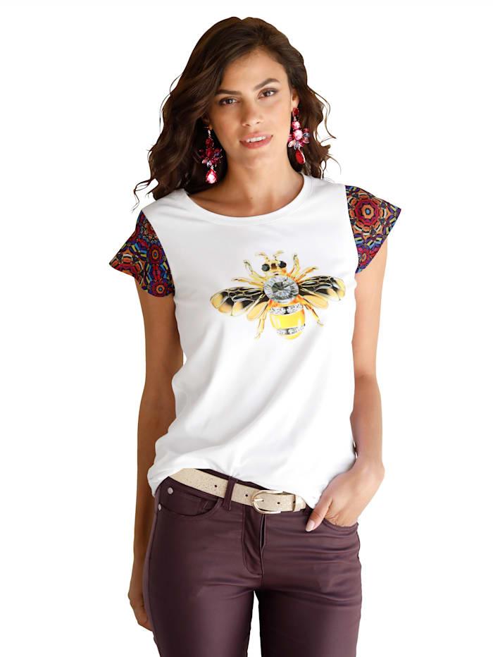 AMY VERMONT Shirt mit bedruckten Ärmeln, Weiß/Gelb/Schwarz/Rot