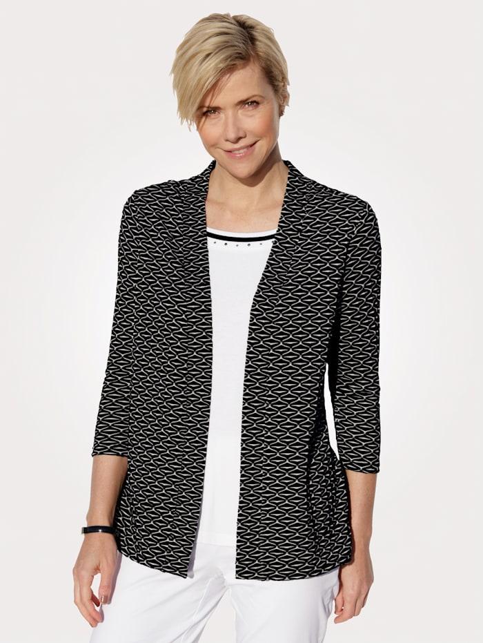MONA 2-in-1-shirt met strassteentjes langs de hals, Zwart/Wit