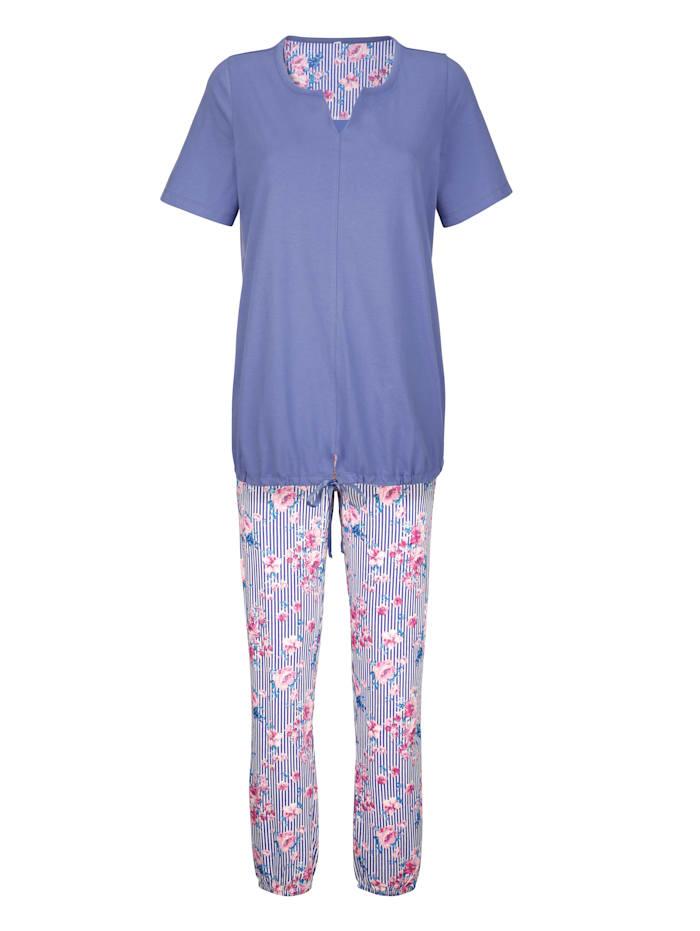 Blue Moon Schlafanzug mit modischem Bindeband, Blau/Weiß/Fuchsia