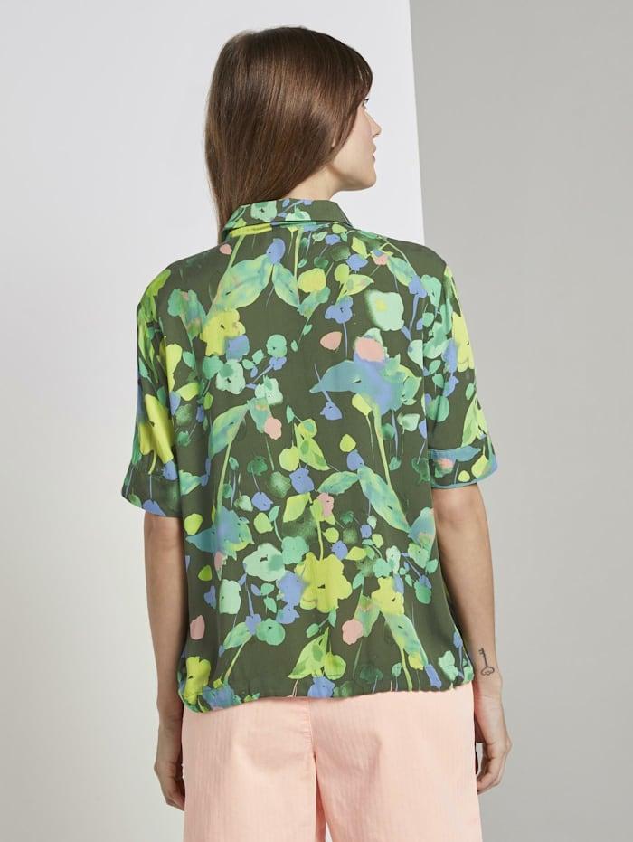 Kurzarm Hemdbluse mit floralem Print