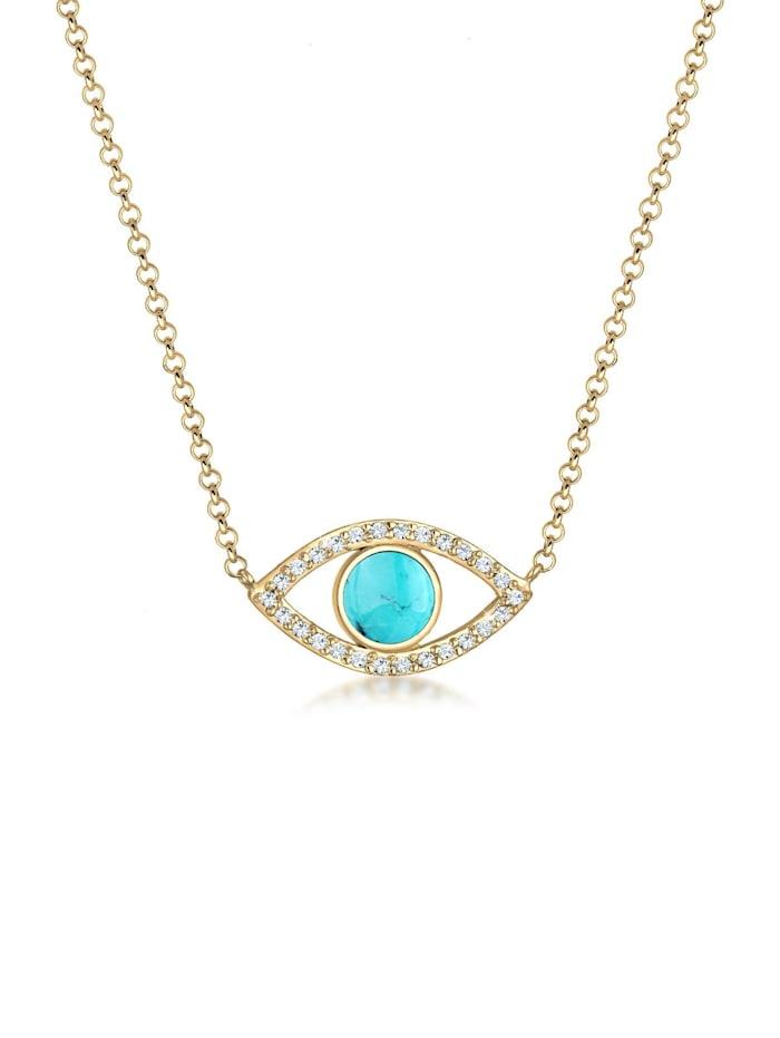 Elli Halskette Evil Eye Howlith Kristalle 925 Silber, Gold