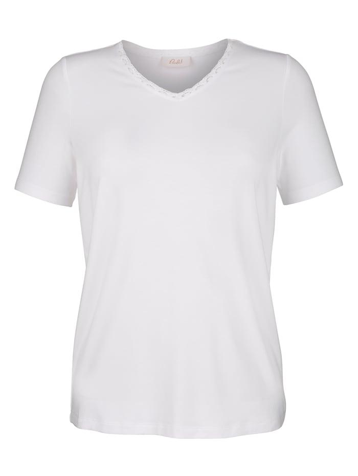 Paola Shirt Mit Rosenspitze im Ausschnitt, Weiß