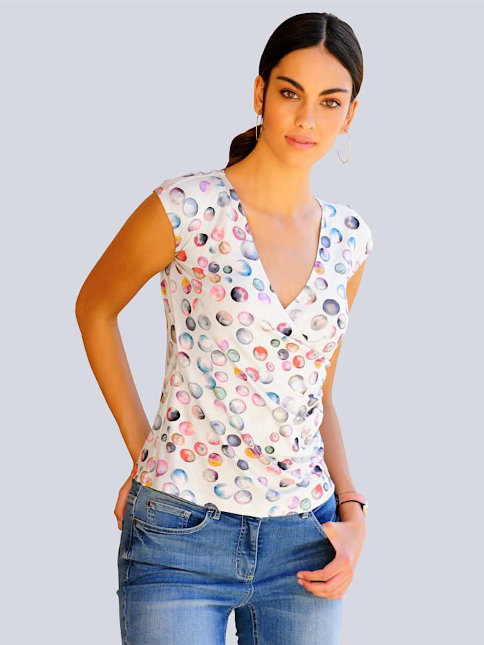 Alba Moda Shirt im farbenfrohem Tupfendessin, Stein/Rosé/Gelb