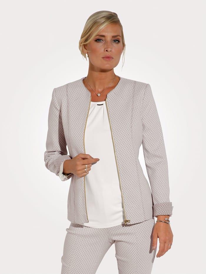 MONA Blazer en jacquard de jersey, Écru/Camel