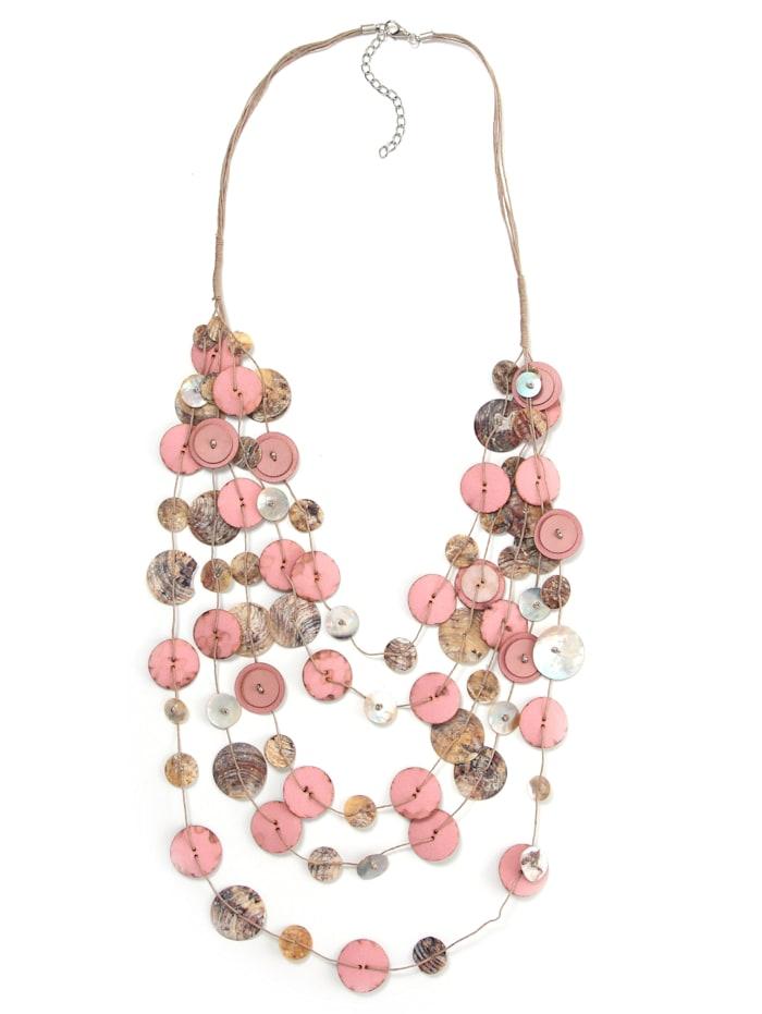 Collezione Alessandro Lange Kette Jenny mit Muschelplättchen, rosa