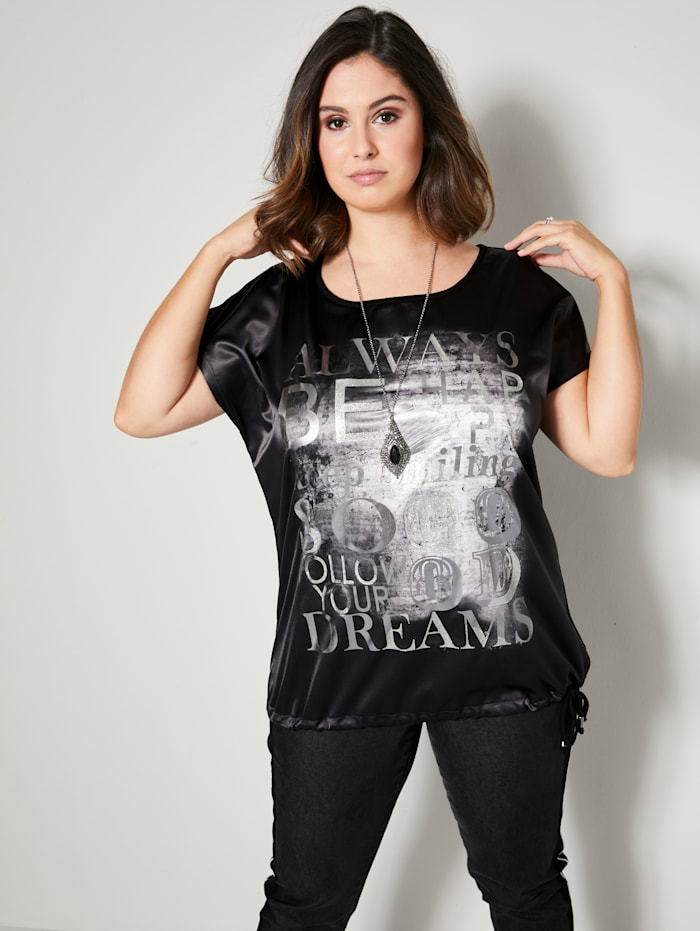Sara Lindholm Shirt vorne aus Satinware, Schwarz