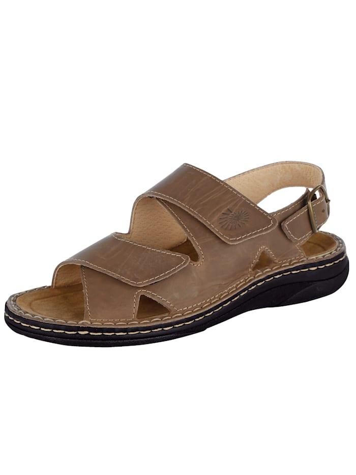 Sandale mit auswechselbarem Lederfußbett, Hellbraun