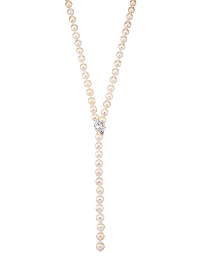Diemer Perle Akoya-Zuchtperlen-Kette mit Klappverschluss, Weiß