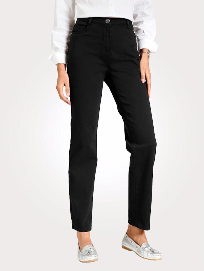MONA Pantalon partiellement extensible en grandes tailles, Noir