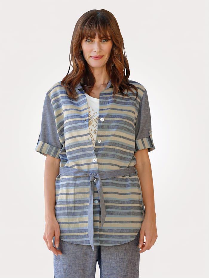 MONA Blouse made from linen blend, Blue/Beige
