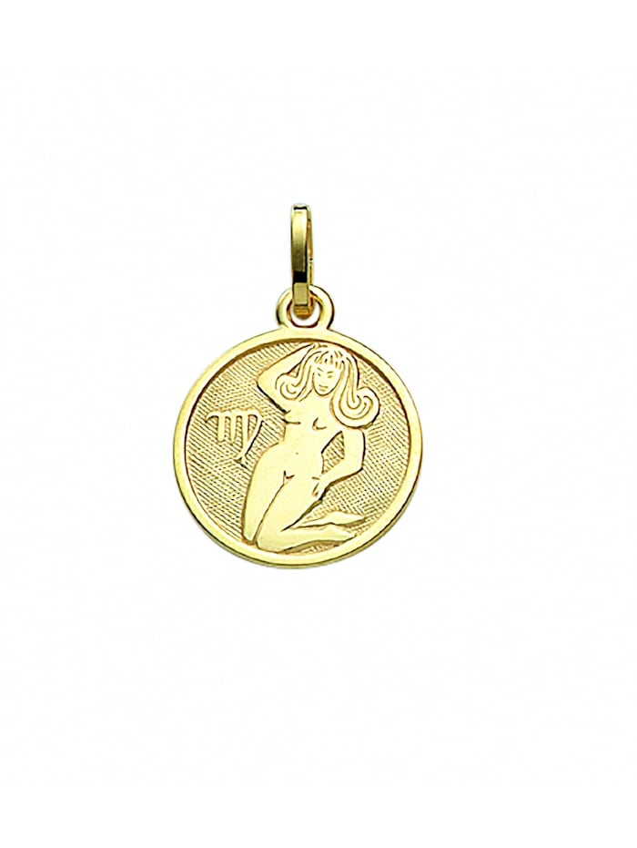 1001 Diamonds Damen & Herren Goldschmuck 333 Gold Sternzeichen Anhänger Jungfrau Ø 11,8 mm, gold