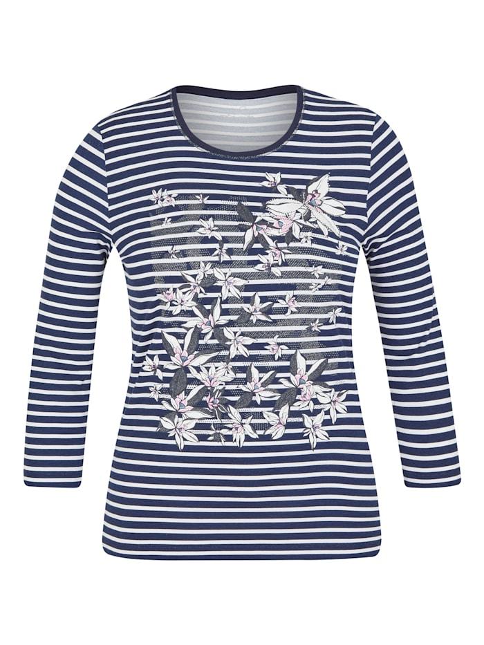 Rabe Shirt mit Ringelmuster und Glitzersteinen, MARINE