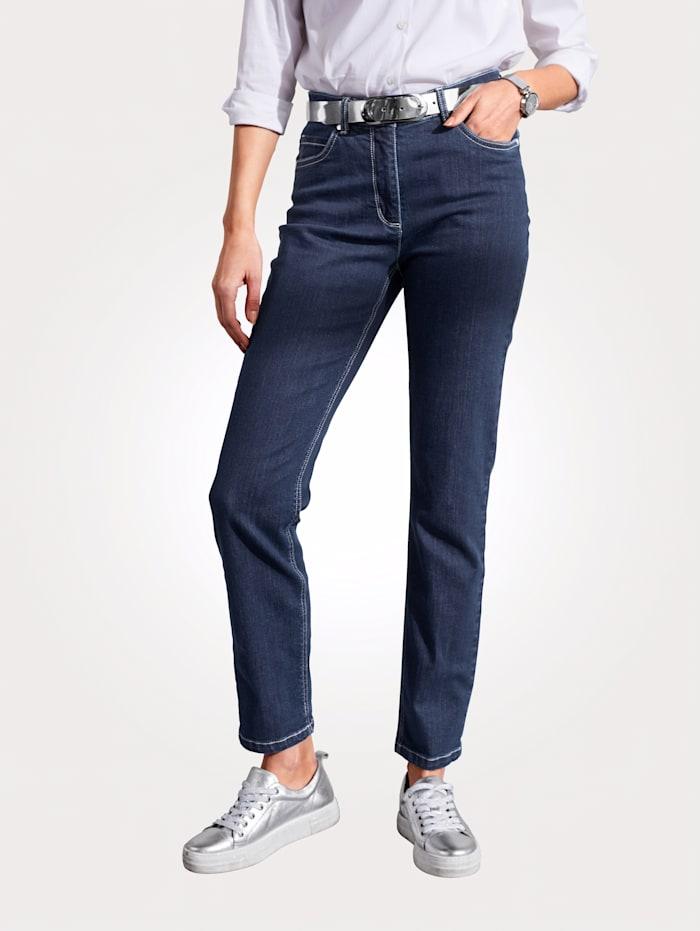 MONA Jeans met geborduurd logo, Donkerblauw