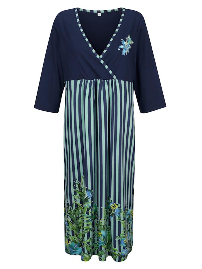 Harmony Kaftan mit floralem Bordürendruck, Marineblau/Hellgrün