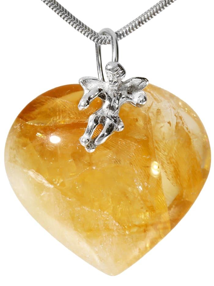 1001 Diamonds Damen Schmuck Edelstein Citrin Anhänger 925 Silber gelb Herz, gelb