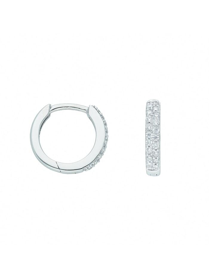 1001 Diamonds Damen Goldschmuck 585 Weißgold Ohrringe / Creolen mit Zirkonia Ø 13,1 mm, silber