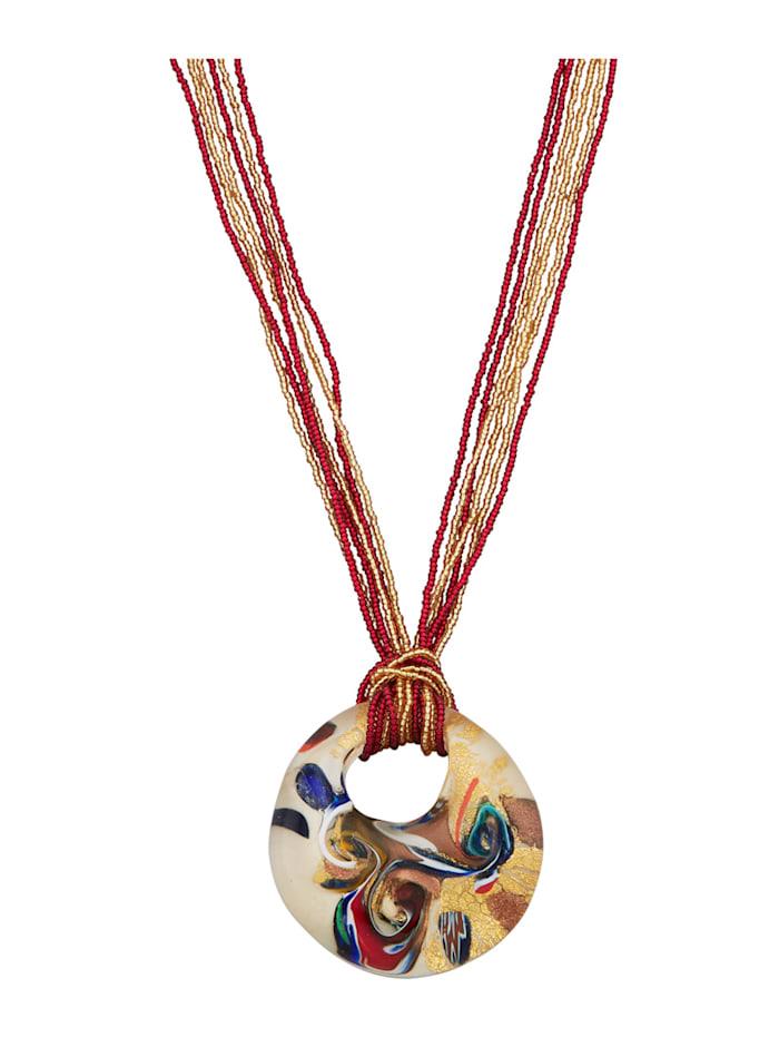Anhänger mit Kette aus Muranoglas, Multicolor