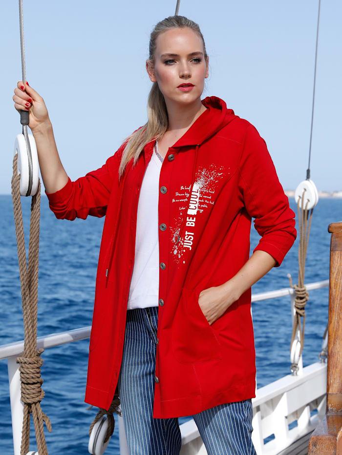 MIAMODA Veste molletonnée avec capuche, Rouge
