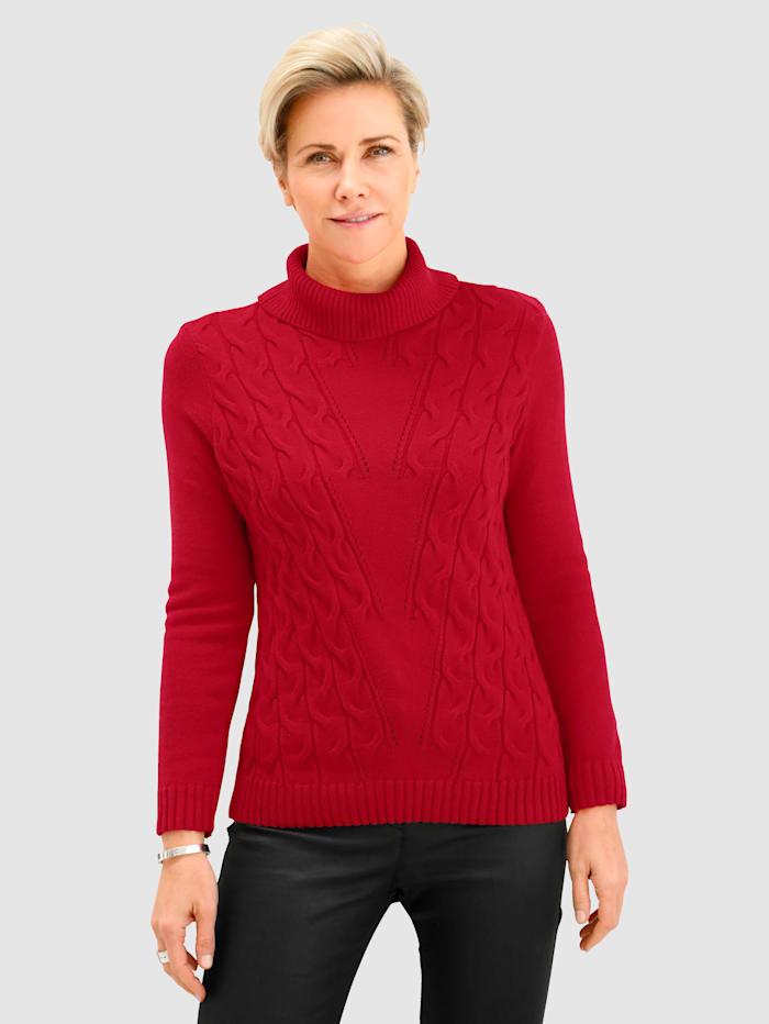 MONA Tröja med hålstickat och flätstickat mönster, Röd