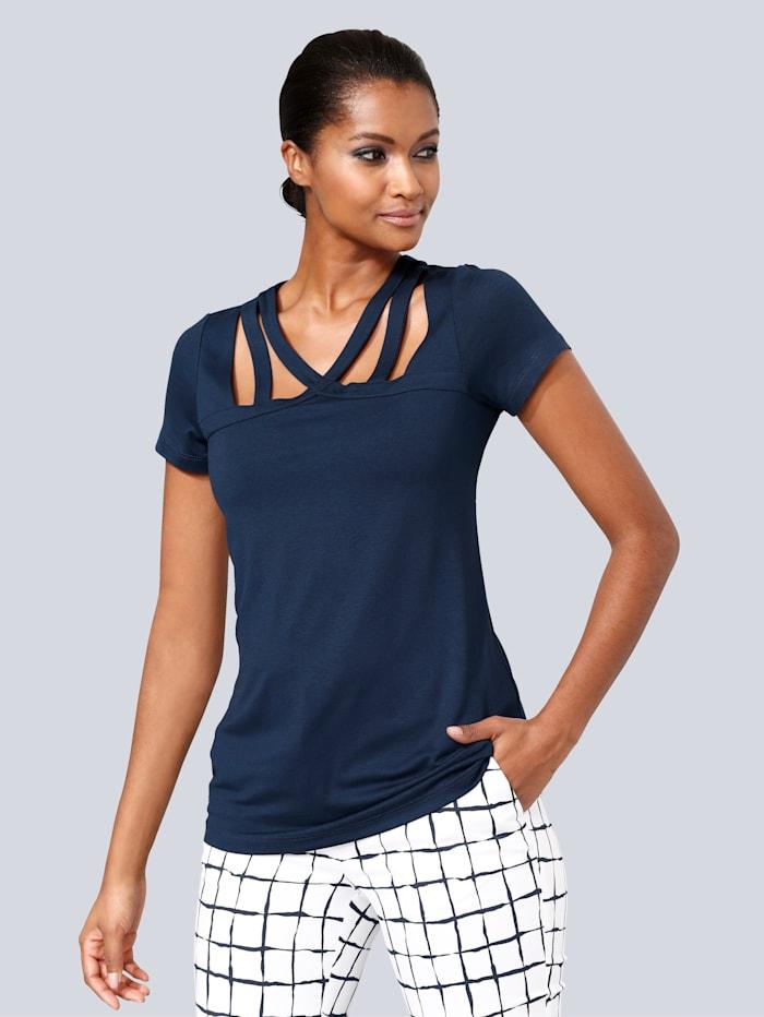 Alba Moda Shirt mit modischen Cut-Outs, Marineblau