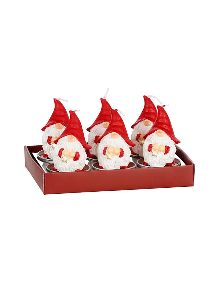 Set van 6 kaarsen Kabouter, Rood